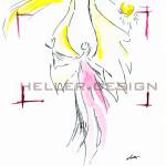 Zeichnung, Aquarellbild Engelchen fliegt, Engelflügelchen, Enge
