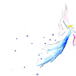 Aquarellbild Engelchen fliegt