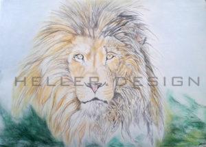 Löwe, Handzeichnung; Mischtechnik; 59 * 84 cm; Acryl auf; weiss