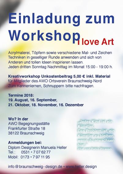 I love Art • Kreativkursus jeder 3. Sonntag im Monat, in der AWO Begegnungsstätte Frankfurterstr. 18 in Braunschweig