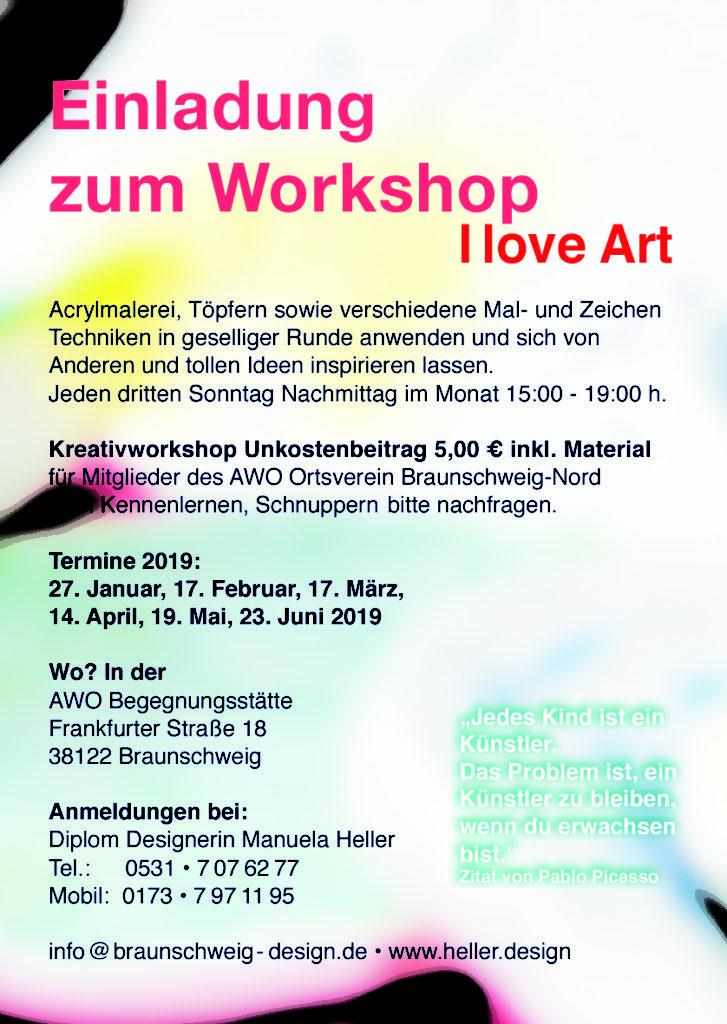 I love Art • Kreativkursus in der Regel der 3. Sonntag im Monat, in der AWO Begegnungsstätte Frankfurterstr. 18 in Braunschweig